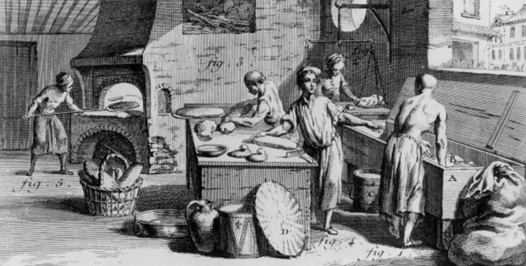 Detail of The Bakery, illustration from Diderot's 'Encyclopedia' by French School