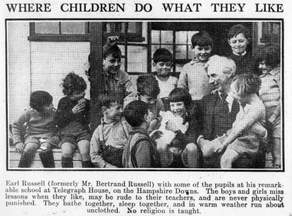Detail of Bertrand Russell with pupils at his Beacon Hill School by English Photographer