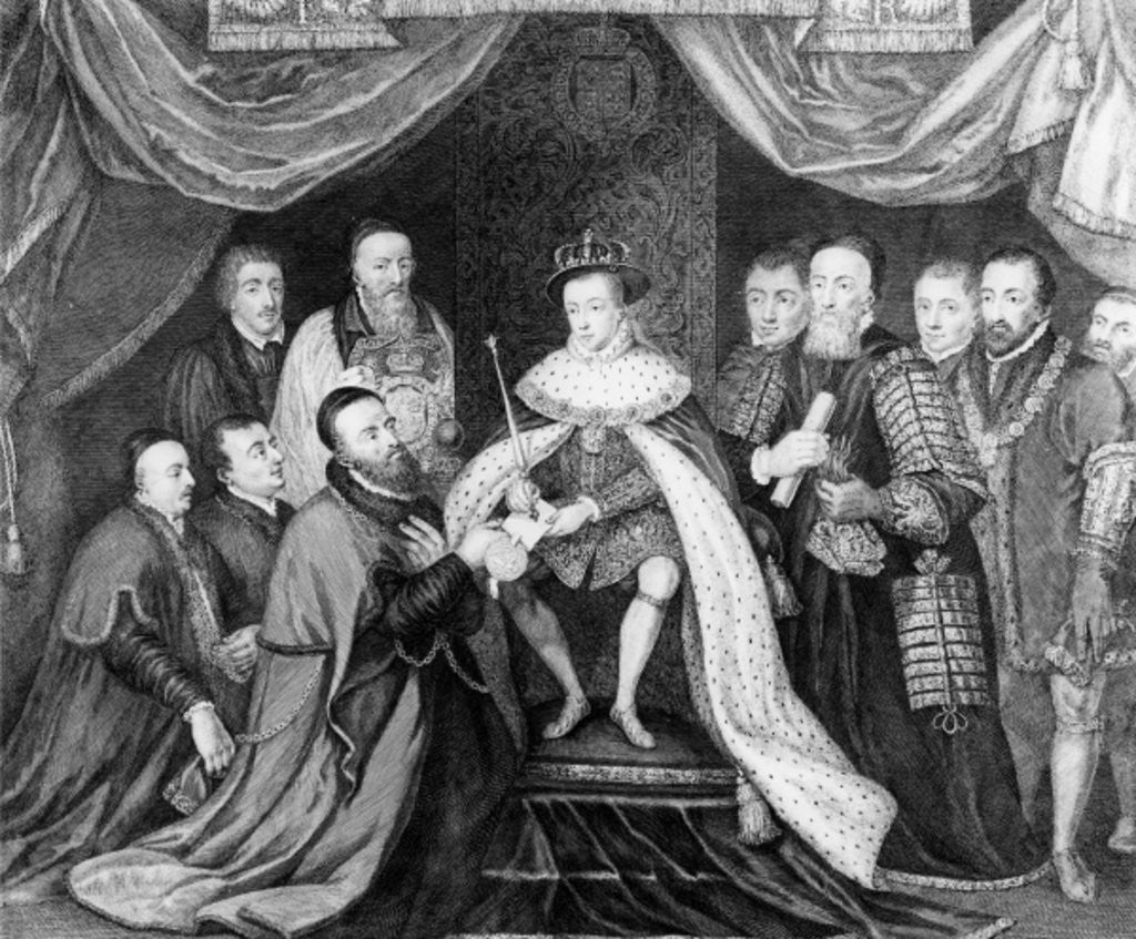 Detail of Edward VI granting the Charter for Bridewell Hospital to Sir George Barnes in 1553 by George Vertue