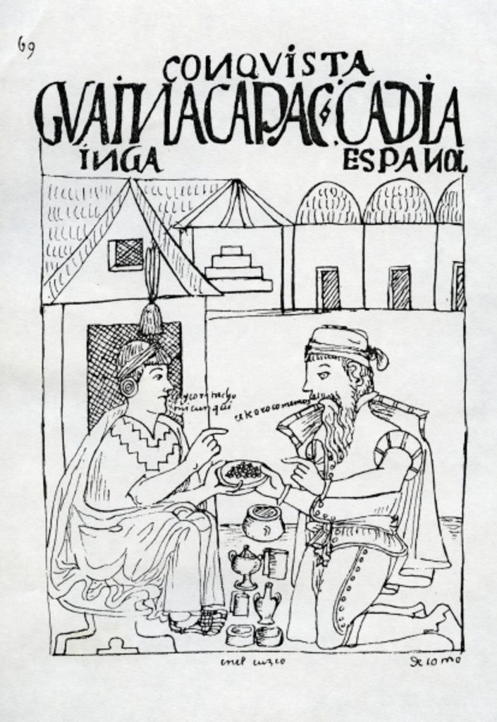 An Inca asks a Spaniard what he eats, he replies 'Gold' by Felipe Huaman Poma de Ayala