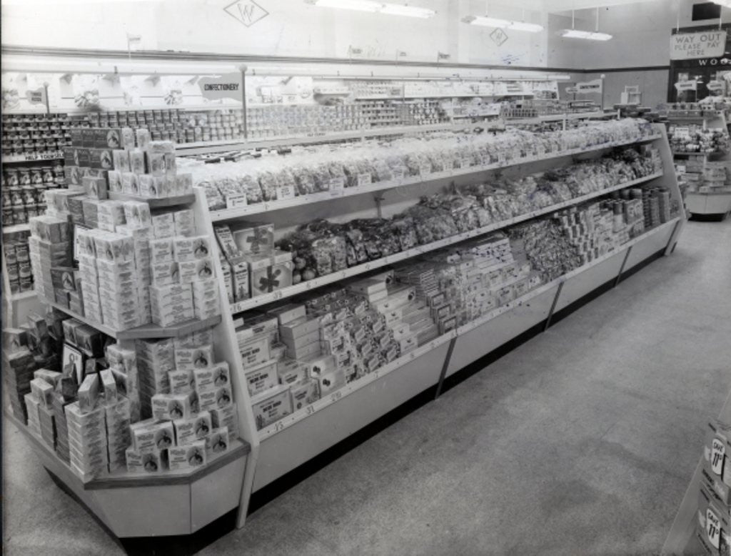Detail of Confectionary aisle, Woolworths store by English Photographer
