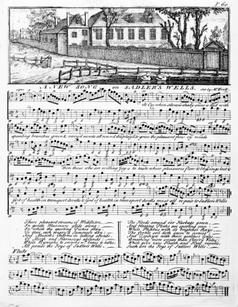 Detail of Sheet music for 'A New Song on Sadler's Wells' by English School