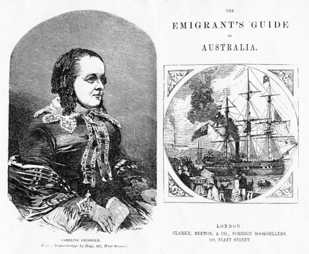 Detail of Title page and Frontispiece to 'The Emigrant's Guide to Australia', by Eneas Mackenzie by English School