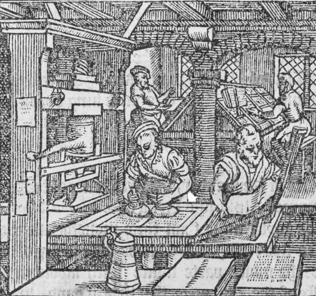 Detail of A printmaking workshop by German School