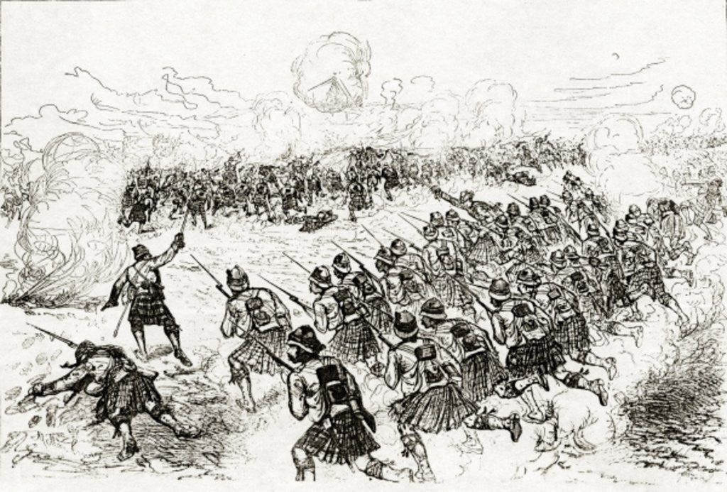 Detail of The Black Watch charging the intrenchments at the Battle of Tel el-Kebir by Melton Prior