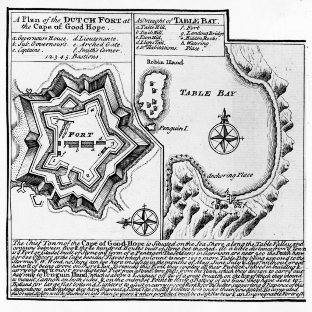 Detail of A Plan of the Dutch Fort at the Cape of Good Hope and A Draught of Table Bay by English School