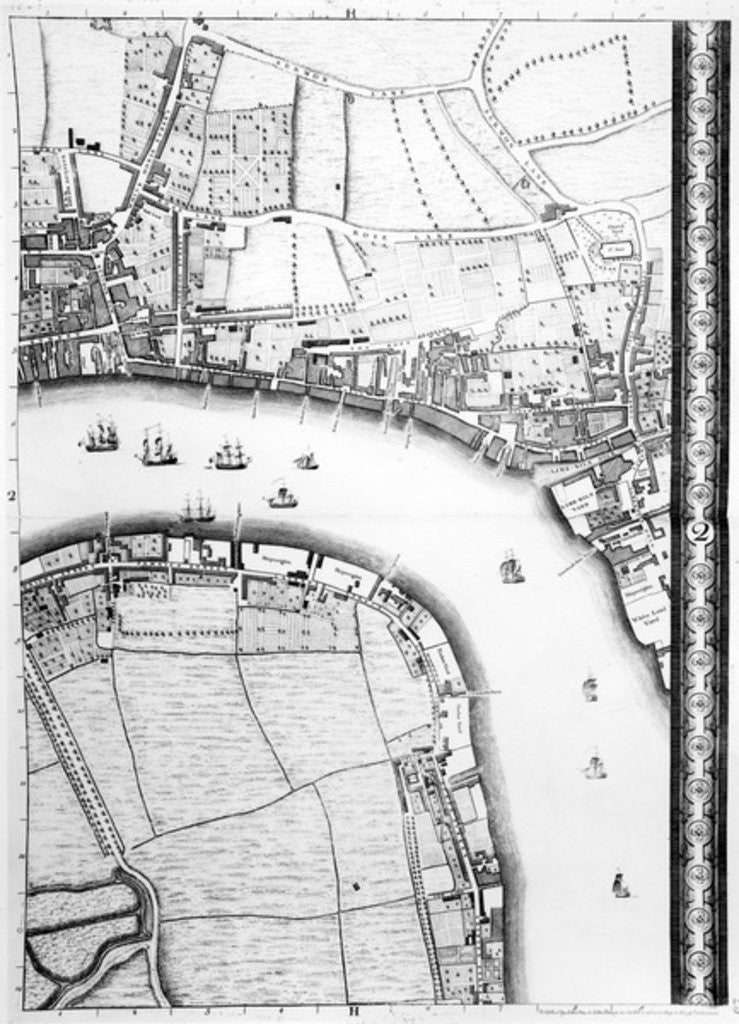 Detail of A Map of Limehouse and Rotherhithe, London by John Rocque