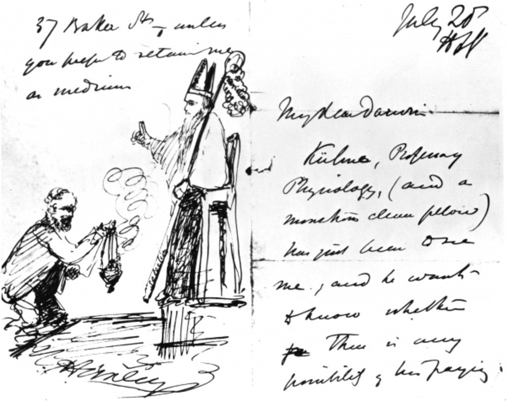 Detail of A letter from Thomas Henry Huxley to Charles Darwin, with a sketch of Darwin as a bishop or saint, July 20th by Thomas Henry Huxley