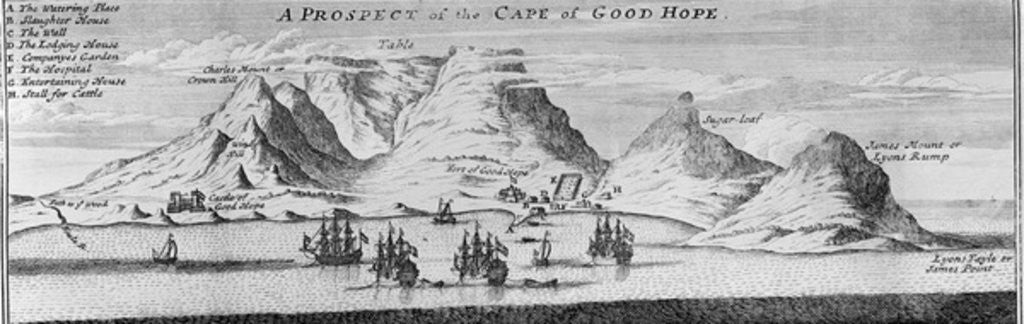 Detail of A Prospect of the Cape of Good Hope by English School