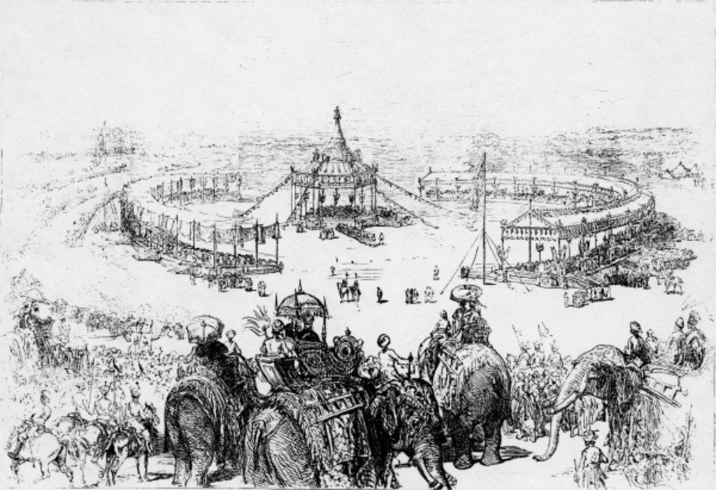 Detail of General bird's-eye view of the Imperial Durbar at Delhi by English School