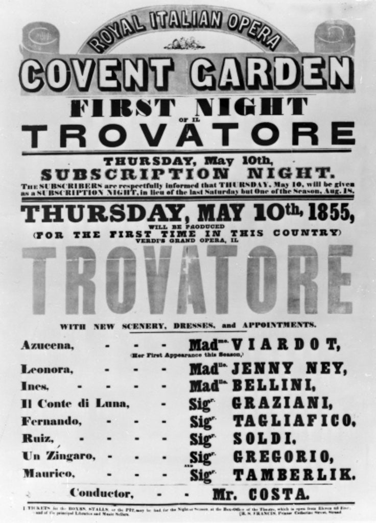 Detail of Playbill for the Royal Italian Opera at Covent Garden by English School