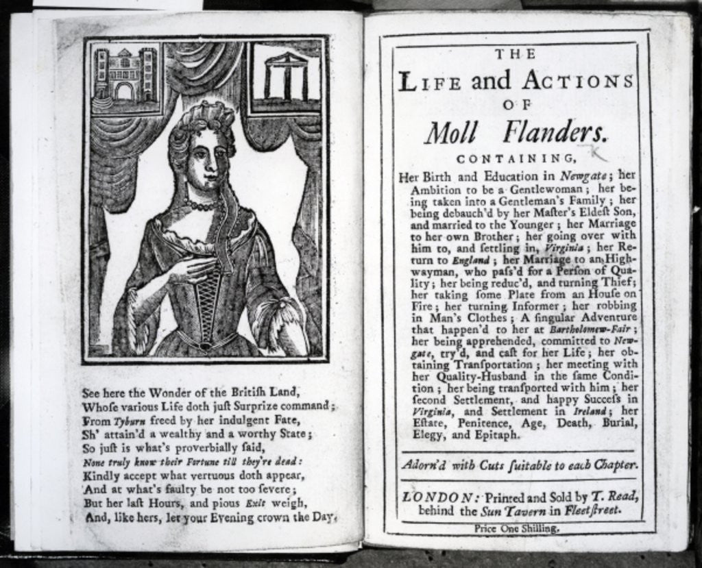 Detail of Frontispiece and Title page for 'The Life and Actions of Moll Flanders' by Daniel Defoe by English School