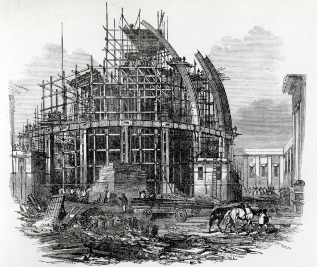 Detail of The New Reading-Room at the British Museum, in course of construction by English School