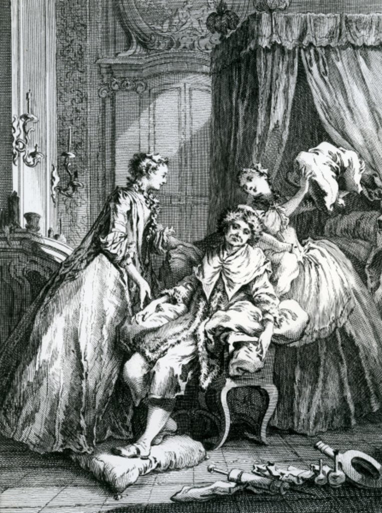 Detail of A Scene from 'Le Malade Imaginaire' by Moliere by Francois Boucher