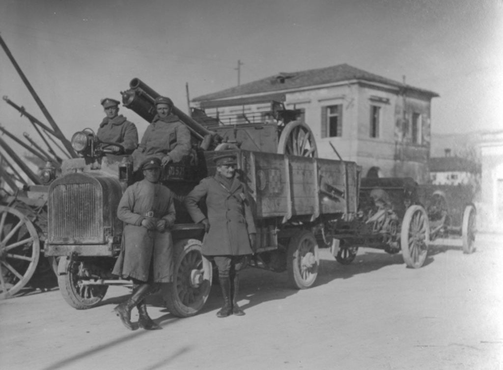 Detail of British soldiers in Italy during WWI transporting a field gun by English Photographer