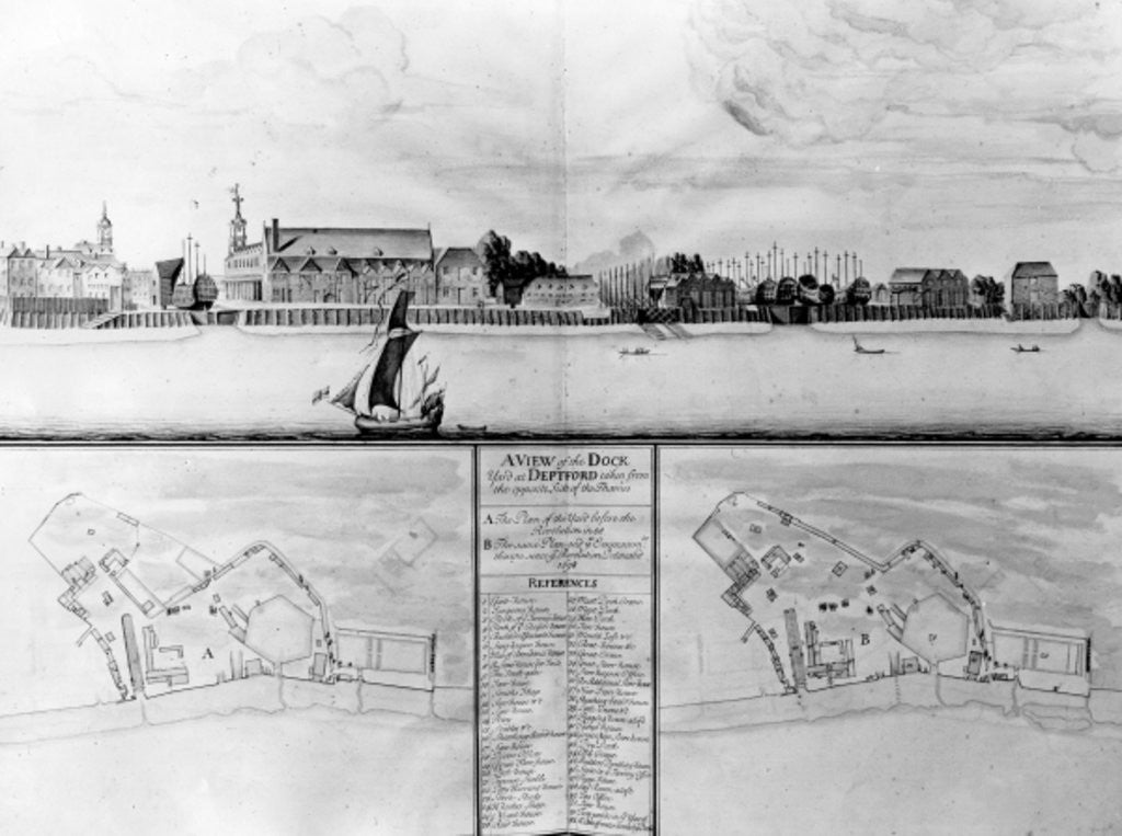 A View of the Dockyard at Deptford taken from the opposite Side of the Thames by English School