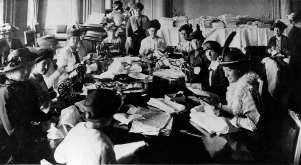 Detail of A sewing party at the Embassy in Russia during WWI by English Photographer