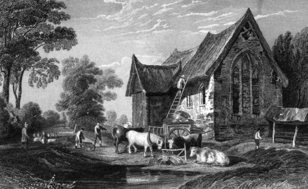 Detail of Coggeshall Abbey, Essex, published by George Virtue by William Henry Bartlett