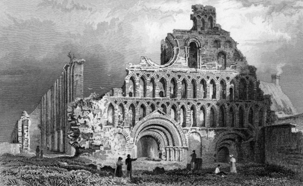 Detail of St. Botolph's Priory, Colchester, Essex by William Henry Bartlett
