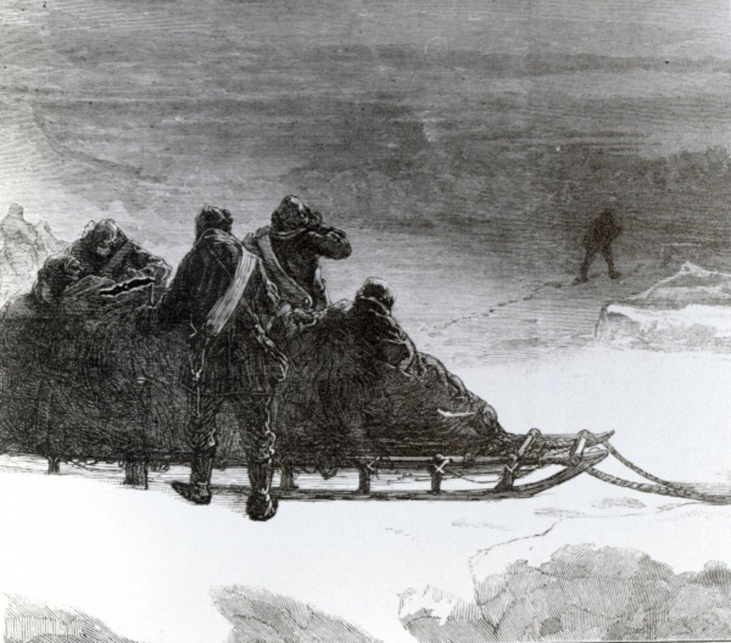 Lieutenant Parr setting off to bring help to the northern sledge party by English School