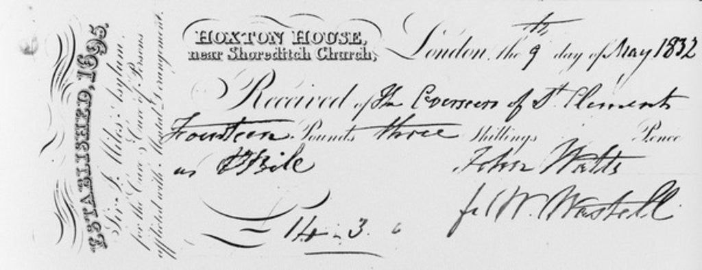 Detail of Reciept of payment received by Sir Jonathan Miles' asylum at Hoxton House by English School
