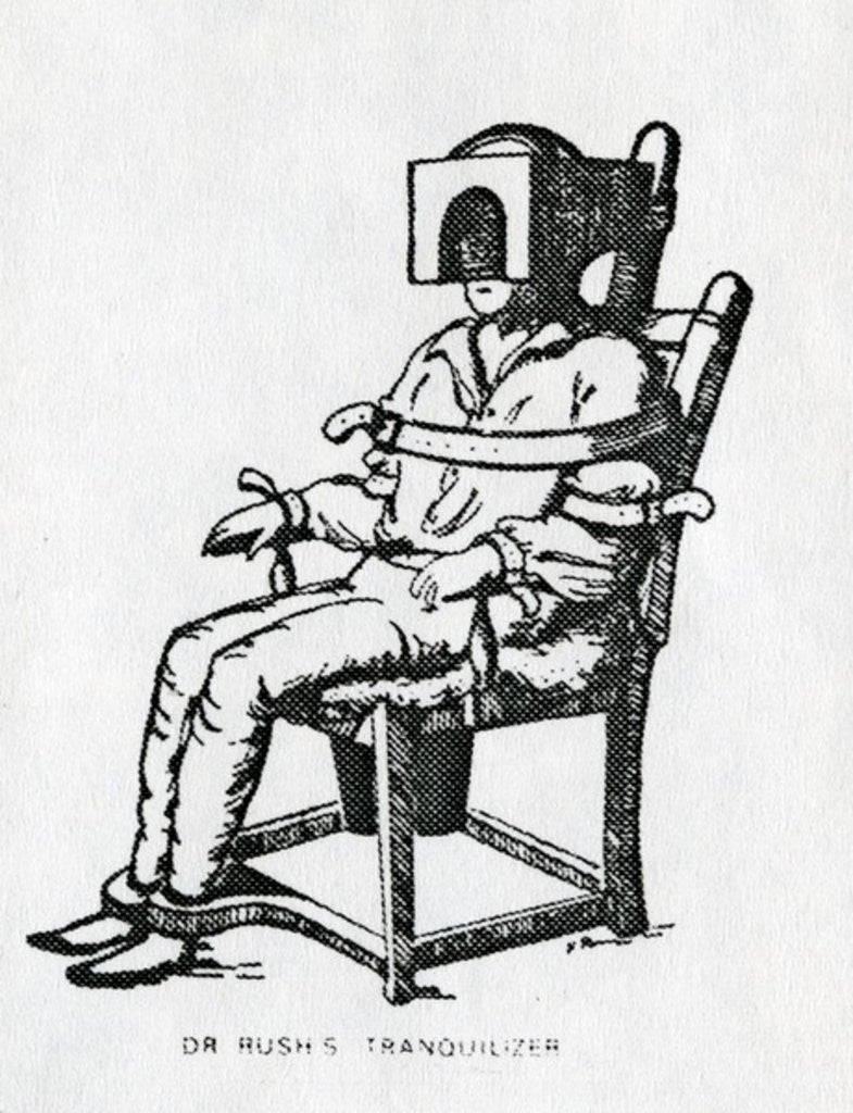 Detail of Dr Rush's Tranquilizer Chair by American School