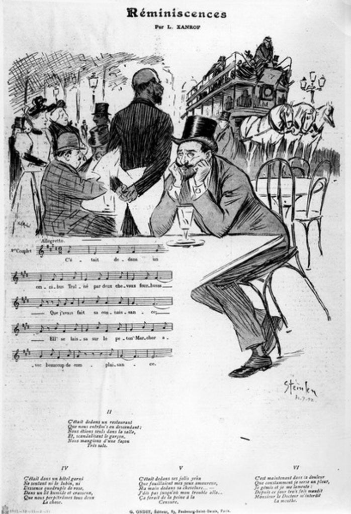 Detail of Sheet music for 'Reminiscences' by Leon Xanrof by Theophile Alexandre Steinlen