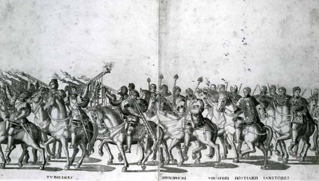 Detail of Plate 12 and 13 of the Entry of Pope Clement VII and Emperor Charles V into Bologna by Nicholas Hogenberg