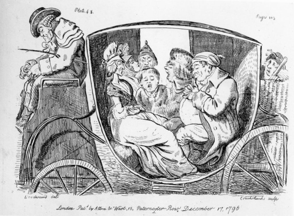 Detail of Stage Coach Passengers Asleep by Isaac Cruikshank