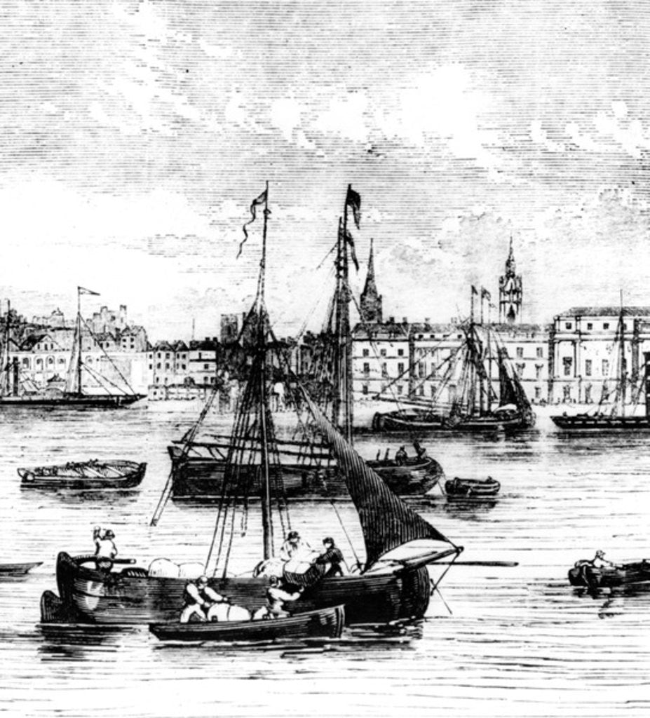 Detail of Wharfs on the River Thames, Nicholson's Wharf to Customs House by English School