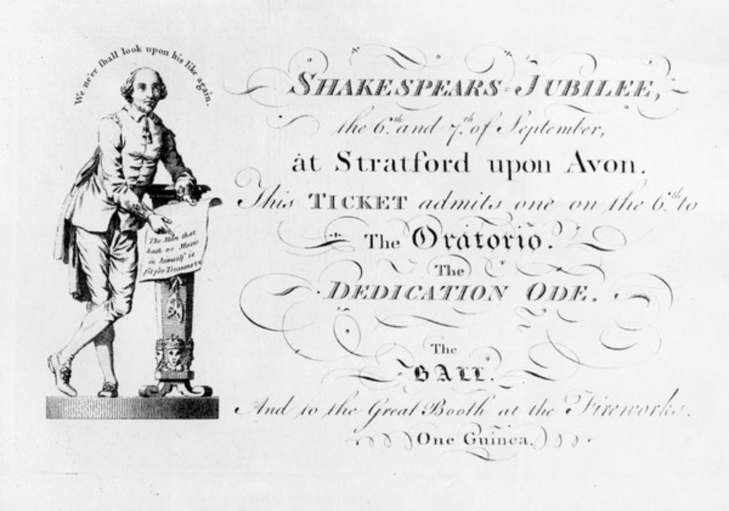 Detail of A ticket for the Shakespeare Jubilee celebrations by English School
