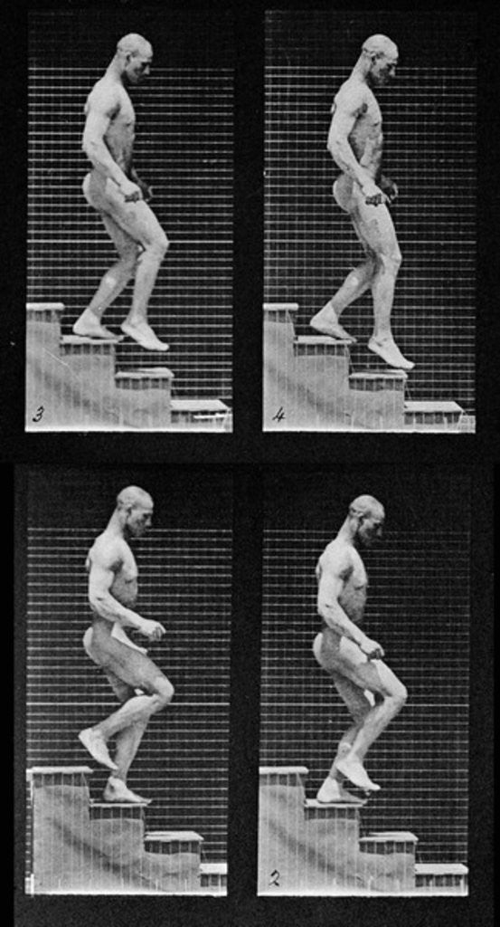 Detail of Man descending stairs by Eadweard Muybridge