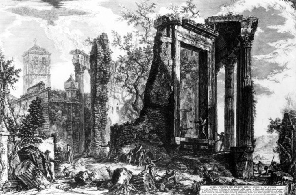 Detail of The Temple of Sibyl, Tivoli by Giovanni Battista Piranesi