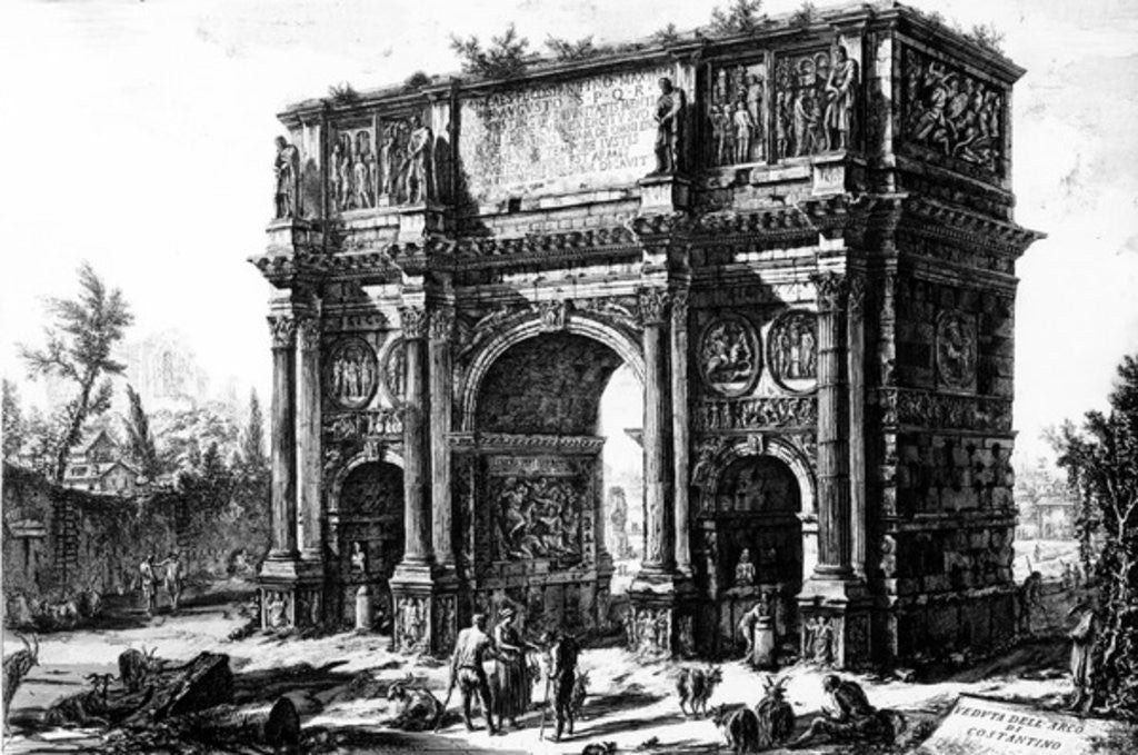 Detail of A View of the Arch of Constantine by Giovanni Battista Piranesi