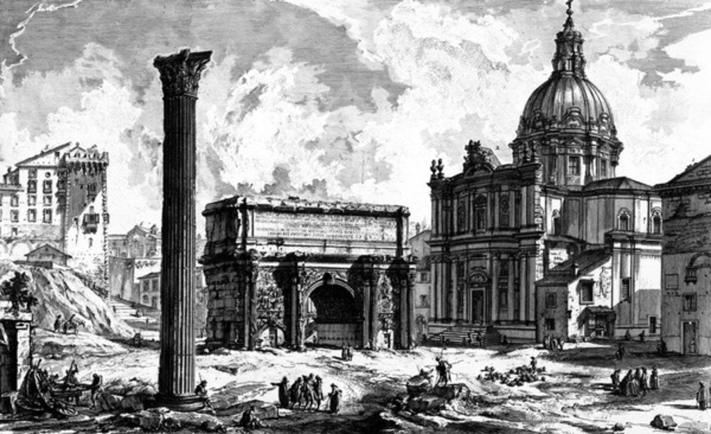 Detail of View of the Arch of Septimius Severus and the Church of Santi Luca e Martina by Giovanni Battista Piranesi