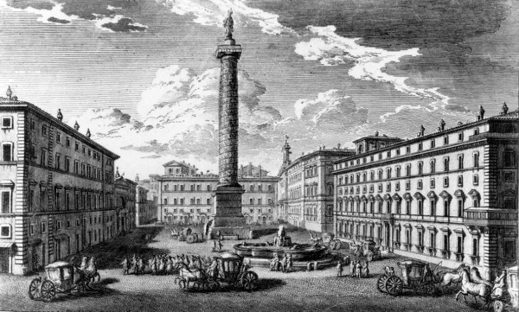 Detail of View of Piazza Colonna, Rome by Giuseppe Vasi