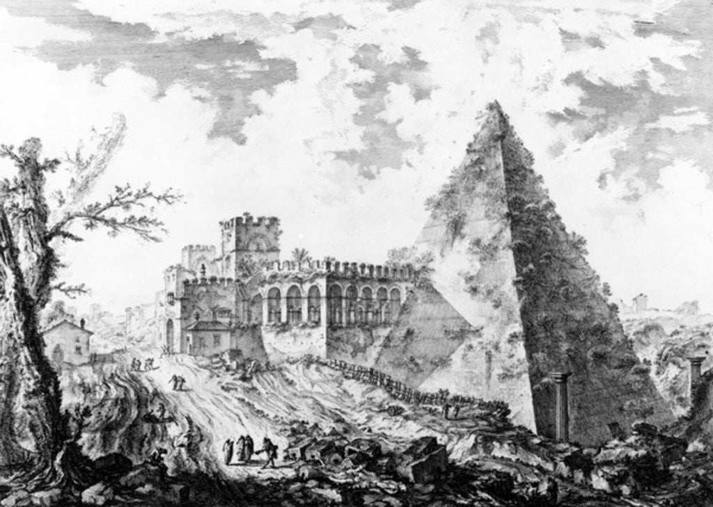 Detail of View of the Pyramid of Caius Cestius by Giovanni Battista Piranesi