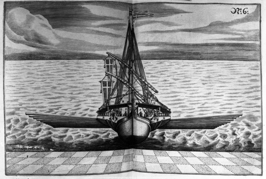 Detail of Front View of a Warship with Two Masts by Jacob Custodis