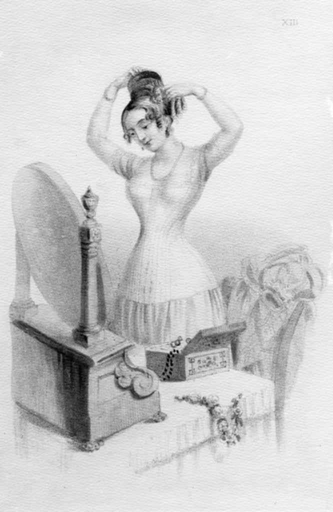 Detail of The benefits of Mrs. Nicholas Geary's Corsets by English School