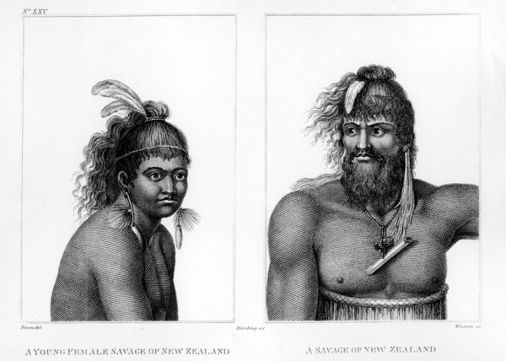 Two Savages of New Zealand by Jean Piron