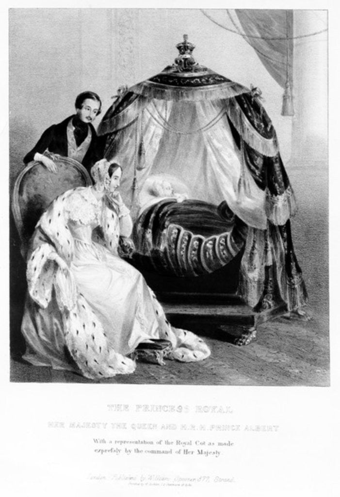 Detail of The Princess Royal, Her Majesty the Queen and HRH Prince Albert, with the royal cot by English School