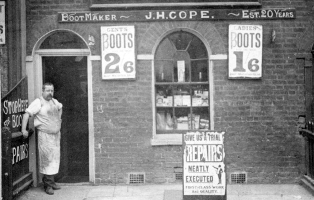 Detail of Bootmaker J. H. Cope, late C19th by English Photographer