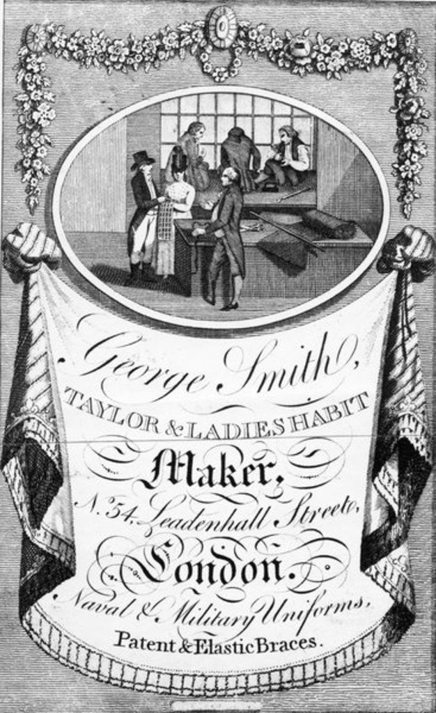 Detail of Advertisement for George Smith, Taylor & Ladies Habit Maker by English School