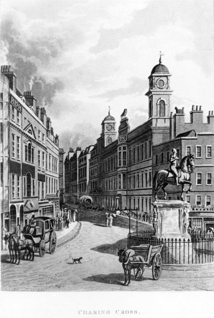 Detail of Charing Cross, looking up the Strand by English School