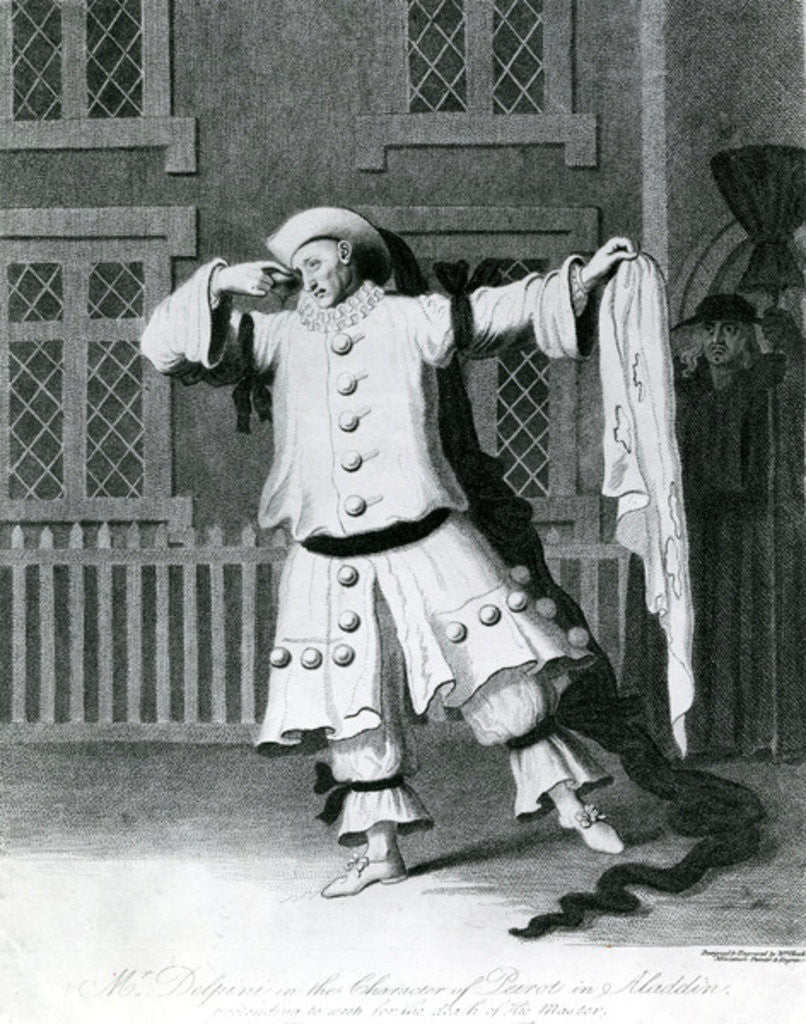 Detail of Mr Delphini in the character of Pierot in Aladdin by William Hincks