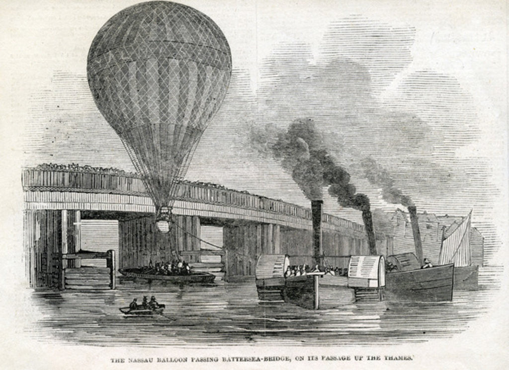 Detail of The Nassau balloon passing Battersea Bridge by English School