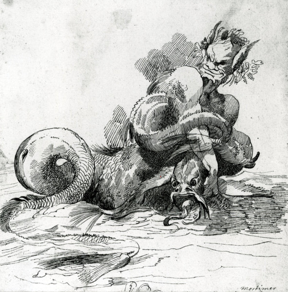 Detail of Illustration of a Sea Monster,18th Century by John Hamilton Mortimer