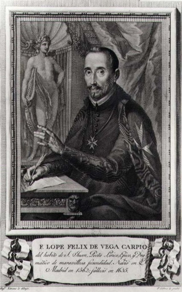 Detail of Portrait of Lope Felix de Vega Carpio engraved by Fernando Selma by Rafael Ximeno y Planes