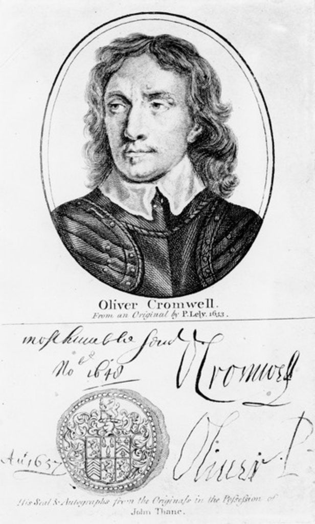 Detail of Portrait of Oliver Cromwell from an original by Peter Lely of 1653, and his seal and autographs by English School