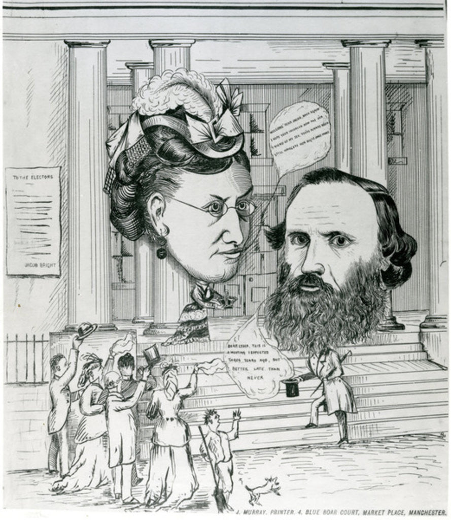 Detail of Jacob's return, meeting of Jacob Bright and Lydia Becker, magazine illustration by English School